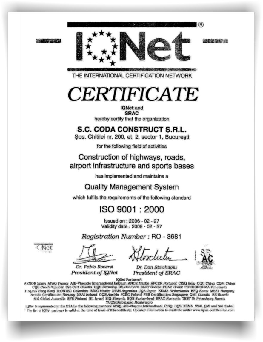 ICN certificate AggreBind soil stabilization and dust control
