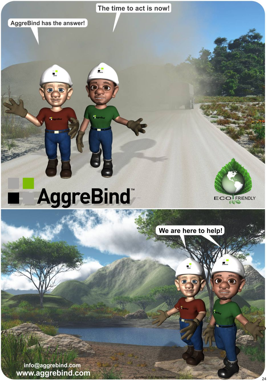 AggreBind product illustrated with Aggi and Binder